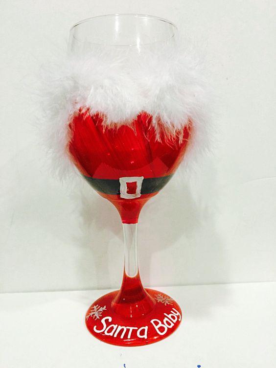 Santa baby christmas wine glass holiday wine glass mrs for Holiday wine glass crafts