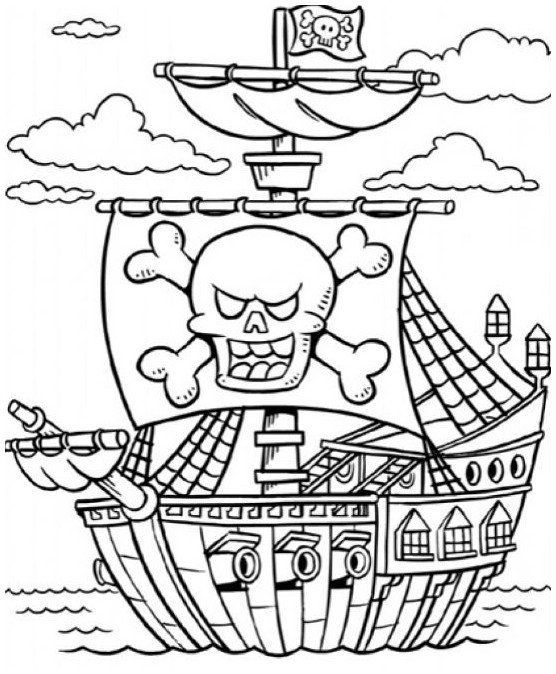 Pirate Ship Coloring Page Anak