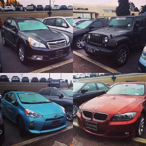 Our #WheelsCrushWednesday goes out to these amazing K-Certified #preowned vehicles currently in our fleet. The #Subaru Forester (TC3237093), #Jeep Wrangler (TEL181184), #Toyota #Prius C (TE1076855) & #BMW328i (TBA656857) have all made it through a rigorous inspection ensuring their quality. Take a stroll along the row of pre-owned vehicles facing SW Canyon Road or contact us at 1-877-420-4771 #Lexus #Portland #WCW