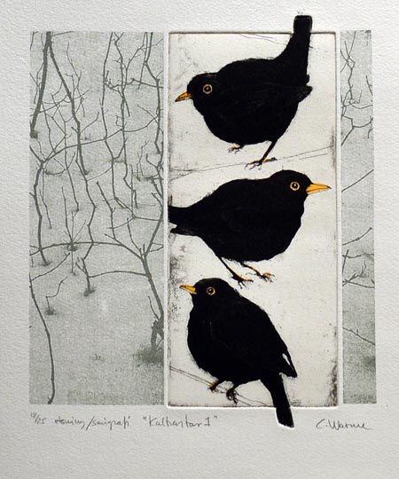 "This is Sooooooo Amazing!!!! Not quite ""Corvid"", but.....they are ""black birds"".  from Swedish Printmakers:"