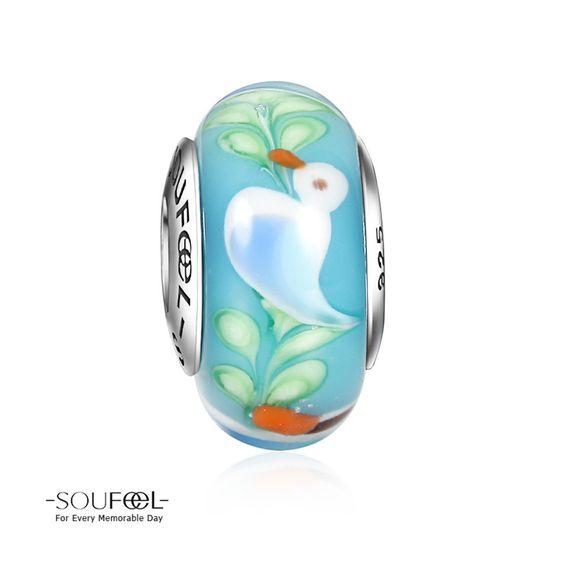 Soufeel Little Duck Murano Glass Bead 925 Sterling Silver Shop->http://www.soufeel.com/little-duck-murano-glass-bead-925-sterling-silver.html