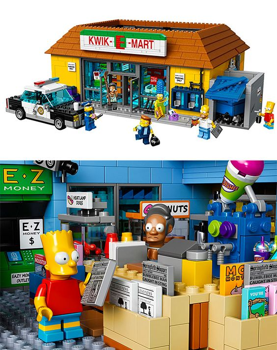 Lego Simpsons Kwik-E-Mart. There are only so many scenes you can re-create with your mini-figs & the original Simpson's house Lego set. But with the release of the new Kwik-E-Mart set, a whole new world of Legolife will open up. The store is packed with references to the show's long history and will be released May 1. A new set of mini-figs will follow soon after.