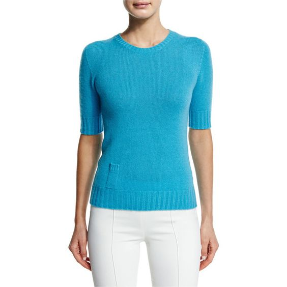 Agnona Cashmere Sweater W/Lipstick Pocket ($795) ❤ liked on Polyvore featuring tops, sweaters, turquoise, pocket tops, pocket sweater, blue sweater, elbow length tops y sweater pullover
