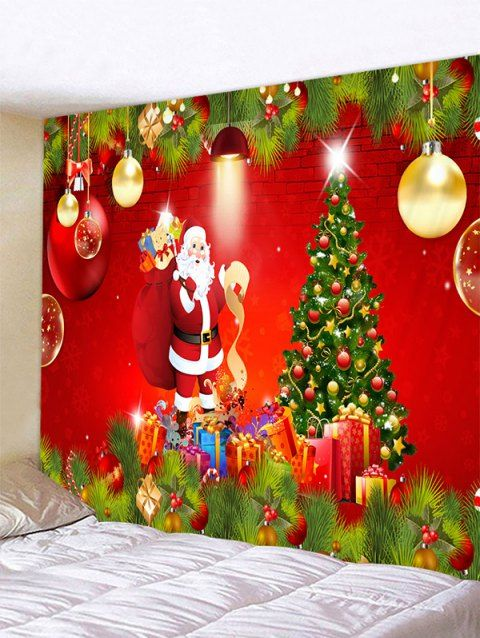 Christmas Tree Santa Print Wall Art Tapestry Christmas Tree And Santa Tapestry Decoration Wall Prints