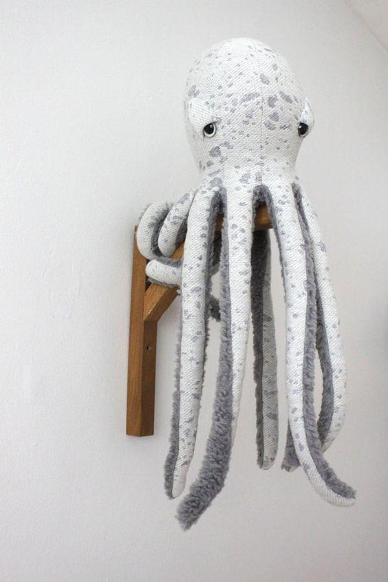 small Octopus Stuffed Animal Handmade Plush toy by BigStuffed