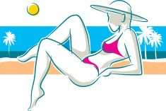 Mujer en la playa vector art illustration