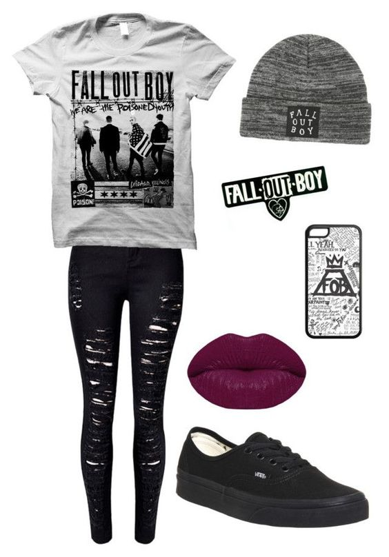 """""""Fall Out Boy"""" by multiphandom15 ❤ liked on Polyvore featuring WithChic, Vans and Winky Lux"""