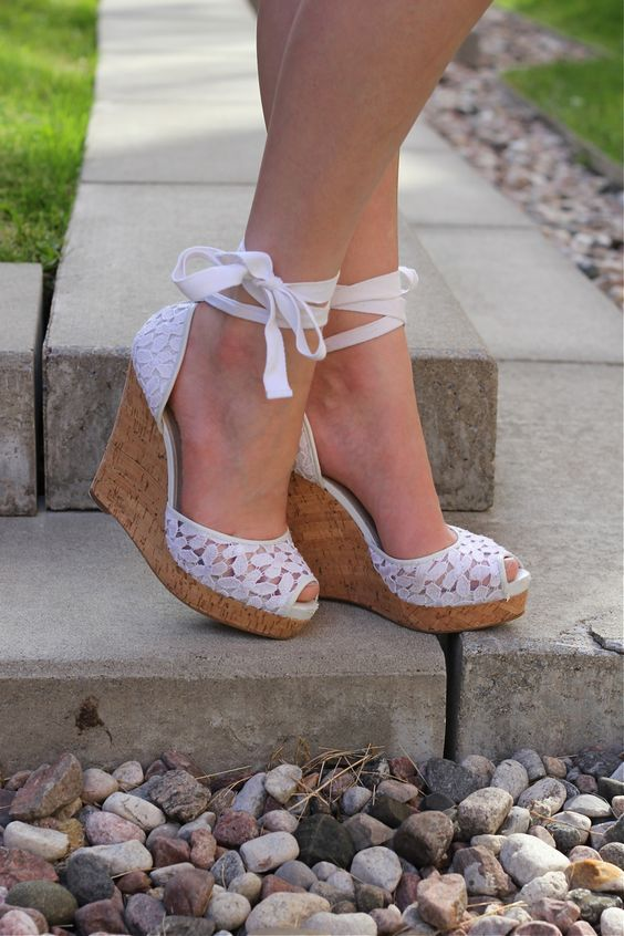 nine west white lace wedges