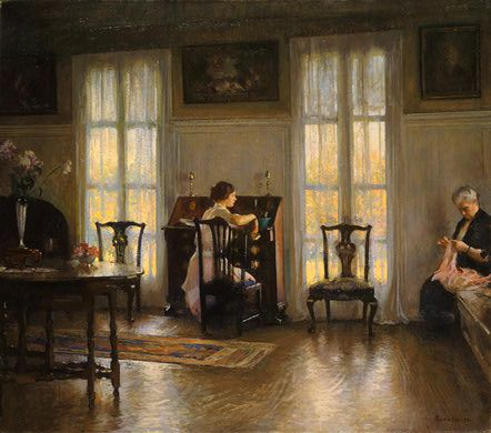 "Edmund Charles Tarbell (1862-1938)  Mother and Mary  Oil Painting on canvas (4' 2.31"" x 3' 8.12"")"