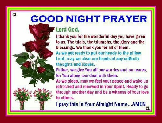 Good night prayer, Night prayer and Good night on Pinterest