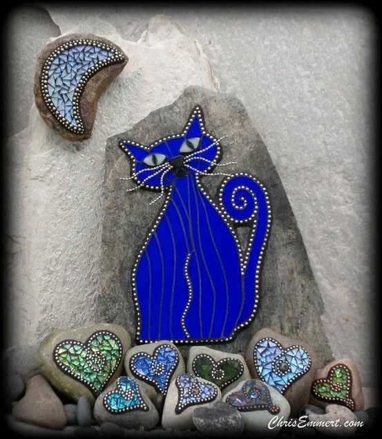 """""""""""Cat Turned Blue"""" Mosaic on Rock Stained glass and ball chain 11"""" x 15"""" x 2"""" More hearts and the moon. Ball chain and glass tile."""" I"""