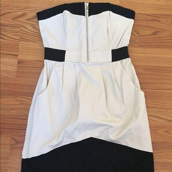 Dress Black and cream/nude zip up dress, dress has pockets and working zipper H&M Dresses Mini
