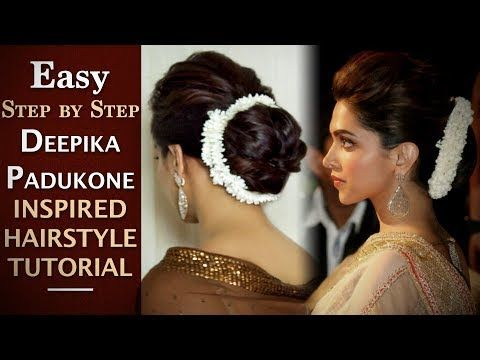 Get Inspired By Stylish Deepika Padukone Hairstyles With Sarees Like Gajra Bun Bun Ponytail Wavy Ha Hair Updos Tutorials Easy Bun Hairstyles Bun Hairstyles