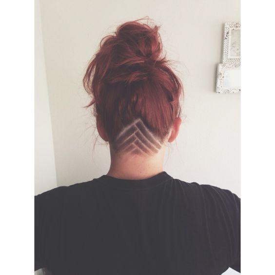 Qiqi, Undercut Femme Nuque, Conceptions En Contre,Dépouille Pour Les Femmes, Coupes, Hair Tattoo Designs Women, Nape Undercut Designs Triangle,
