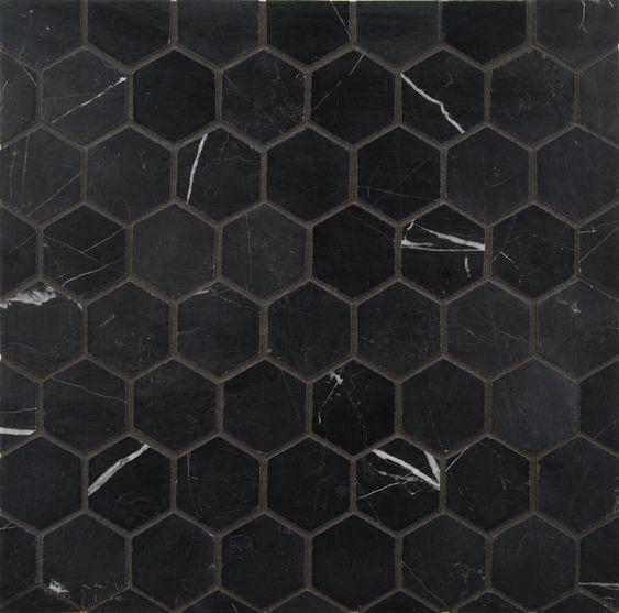 Ann sacks nero marquina 2 hexagon marble mosaic in honed for Carrelage hexagonal noir