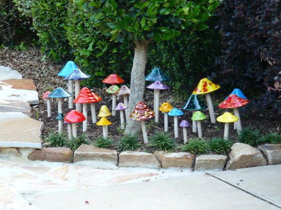 Whimsical Garden Decor | ... Garden Art,Ceramic Garden Art,Shroomyz Art,Shromies, Garden Decor