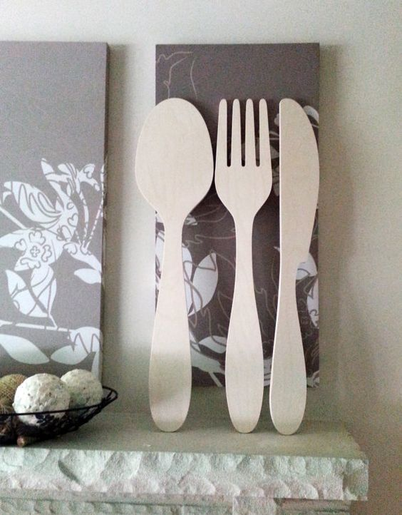 Wooden Utensil Wall Decor : Fork knife spoon wooden utensils set big giant by