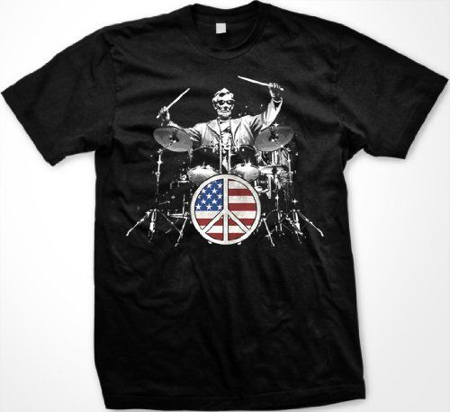 Rock and Roll 101 Mens T-shirt Lincoln Playing Drum Set Flag Peace Sign Tee Shirt Medium Black