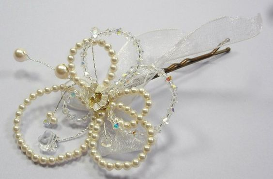 Dee Flower Hair Pin  Classic Bridal BeautySparkle by SLCDesignsUK, $55.00