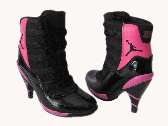 ... women jordan winter boots Crazy Black and Pink Heeled Boots by Nike.com b75b43f46