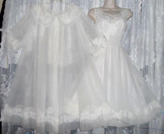 VTG Shadowline Bridal White Sheer Chiffon Babydoll Peignoir Robe Nightgown Gown  #Shadowline