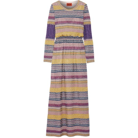 Missoni Striped metallic crochet-knit maxi dress ❤ liked on Polyvore featuring dresses, crochet dress, metallic dress, striped maxi dress, knit dress and colorful dresses