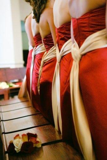 Bridesmaid dresses cream and red