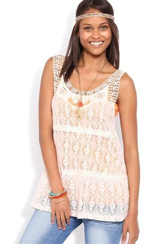 Deb Shops Floral Crochet Tank with Skirted Bottom $17.92
