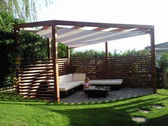 pergola holz mit sonnensegel, ged. sitzplatz, sonnenschutz kaufen, Garten und bauen