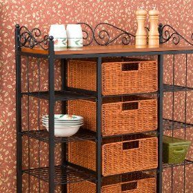 Wire bakers rack with rattan baskets