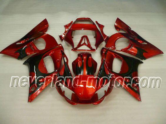 YAMAHA YZF-R6 1998-2002 ABS Verkleidung - Schwarz Flame #yamahayzfr6verkleidung #r6verkleidung