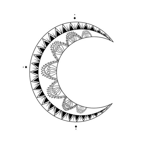 moon crescent tattoo design digital by inknillustrations on etsy i n k n i l l u s t r a t i. Black Bedroom Furniture Sets. Home Design Ideas