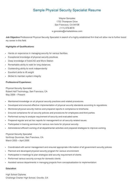 Sample Software Support Specialist Resume resame Pinterest - Security Specialist Resume