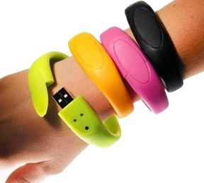 USBling. USB bracelet. I couldn't resist the clever product name. I like these colorful bands, but they come in more masculine designs as well.