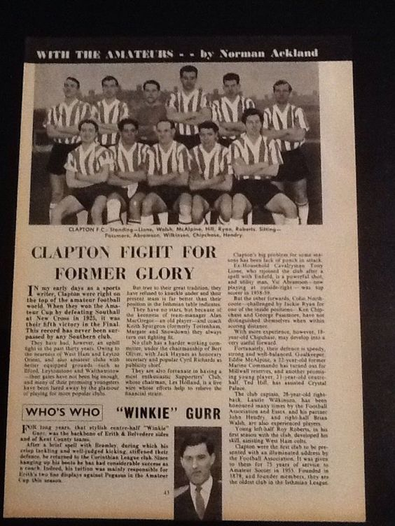 *1961* A4 Football picture/article CLAPTON FC inc Team Pic in Sports Memorabilia, Football Memorabilia, Prints/ Pictures | eBay