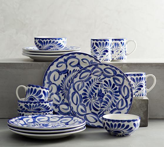 Puebla Stoneware 16 Piece Dinnerware Set Dinnerware Set Blue Dinnerware Pottery Barn