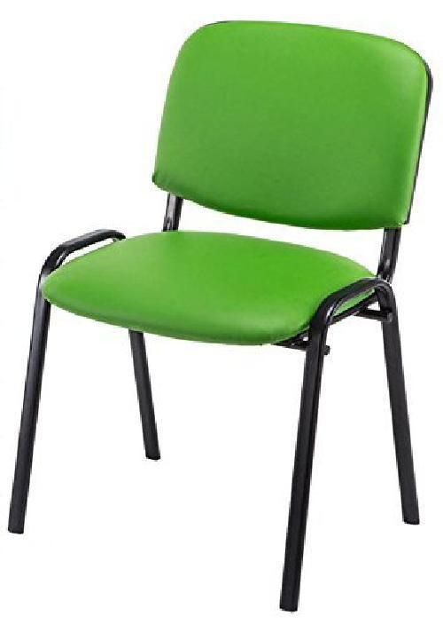 Green Leather Visitor Chair Metal Office Guest Seat Reception Waiting Room Event Metal Chairs Chair Green Leather