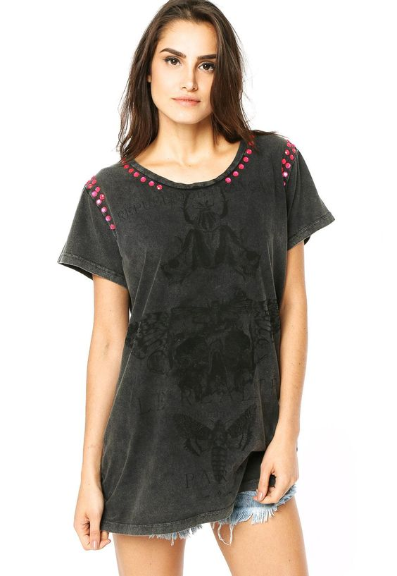 Camiseta Colcci Caveira Cinza - Compre Agora | Dafiti Brasil