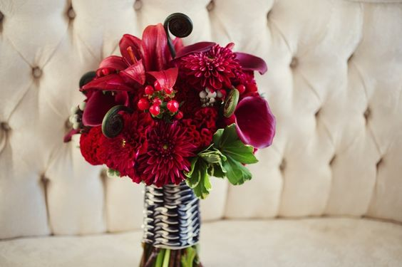 A beautiful red wedding bouquet.