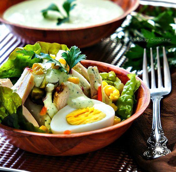 Sandra's Easy Cooking: Roasted Turkey Salad with Scallion Creamy Dressing @Sandra @SECooking