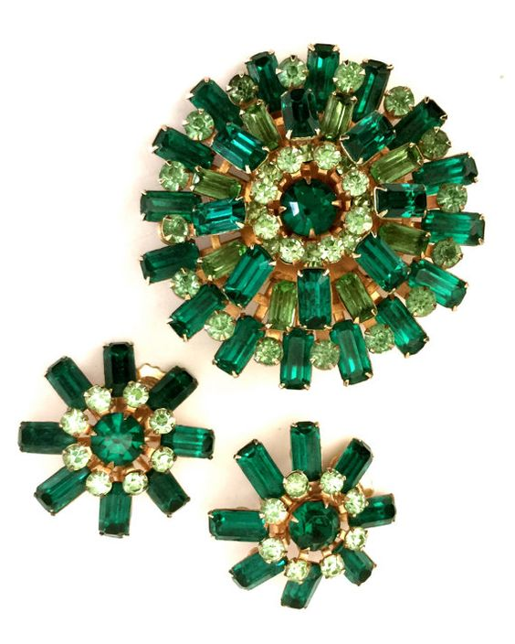 Shades of Green Rhinestone Brooch and Earring by Vintageimagine