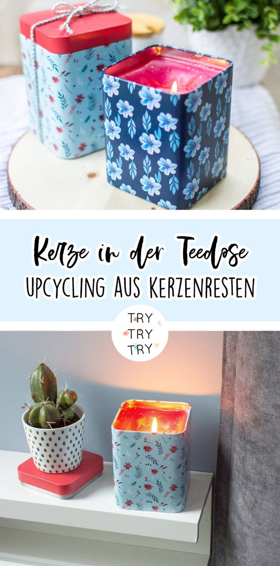 Upcycling DIY: Kerze in der Dose aus Resten