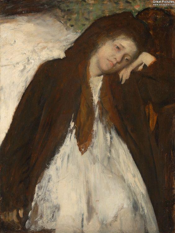 Edgar Degas: The Convalescent, 1872-1887. Oil on canvas, 65.7 x 49.8 cm.  J. Paul Getty Museum, California
