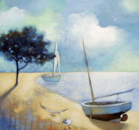 Boats at Midday ~ Scottish artist Lesley McLaren: