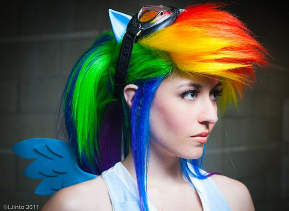 Taste The Rainbow Dash @Holly H: 2014 Hairstyles, Rainbow Dash, Mlp Rainbow, Halloween Costumes, Costume Ideas, Cosplay Costume, My Little Pony, Dash Cosplay, Wig Hairstyle