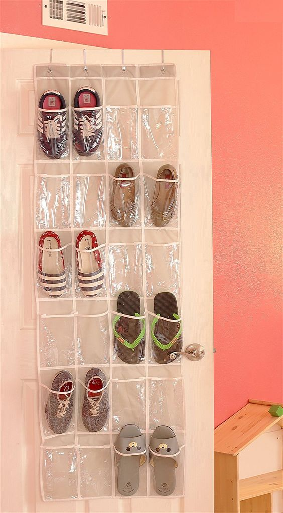 Shoe Storage for Small Spaces - Over the Door Hanging Shoe Organizer