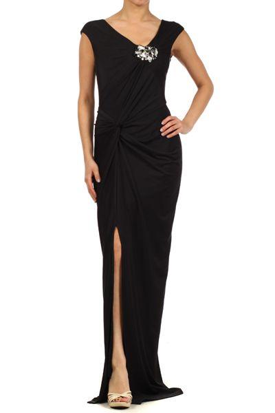 Stretch Knit Wrapped Dress With A Jewel Embellished.