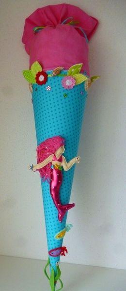 """Schultüte, Zuckertüte, """"Meerjungfrau"""" von Anastasiyas Stoffmärchen auf DaWanda.com"""