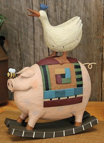 Pig and Goose on Rocker Figurine – Everyday Folk Art Figurines & Collectibles – Williraye Studio - $30.00