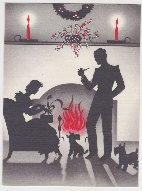 VINTAGE ART DECO 1941 SILHOUETTE CHRISTMAS GREETING CARD - SCOTTIE DOG TWINS: